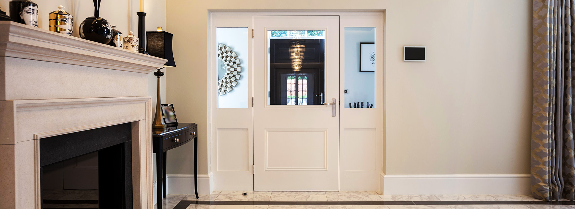 Traditional door with side-panels