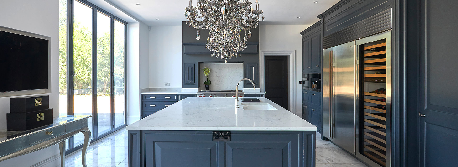 Marble kitchen with chandelier