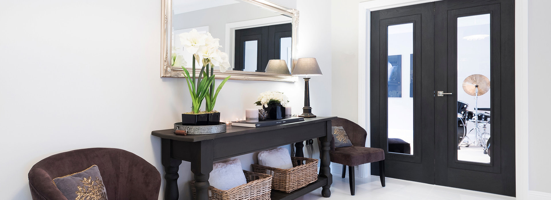 Monochrome hallway with side table