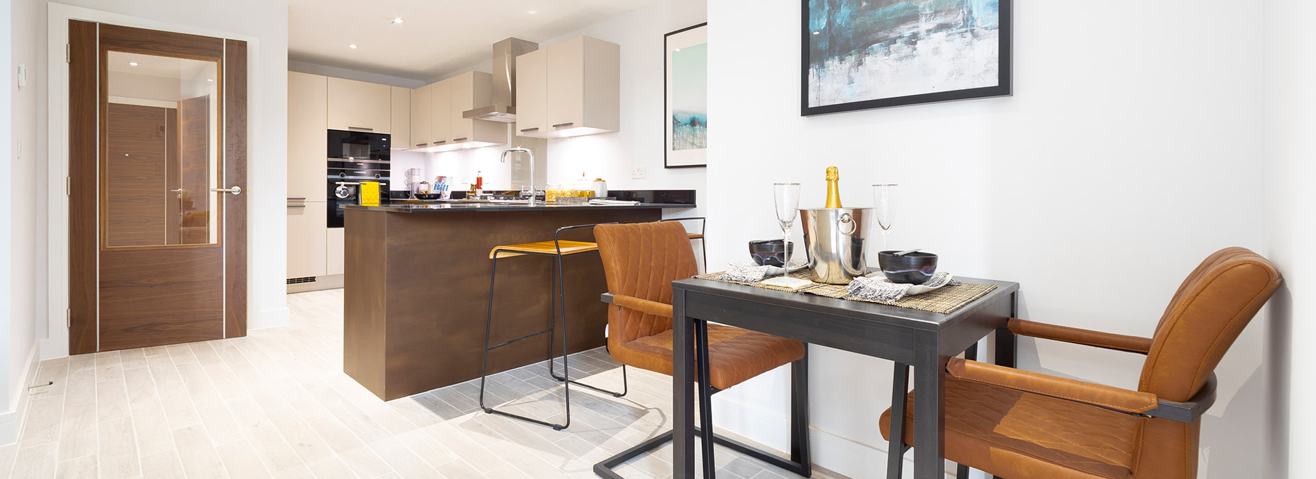 Two seater table in modern kitchen